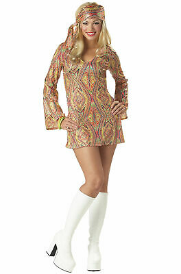 Girls Disco Dress (Disco Dolly Adult and Girls sizes Dress & Head Wrap California Costumes)