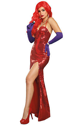 Jessica Rabbit Cosplay Sexy Starlet Adult Costume - Adult Rabbit Costumes