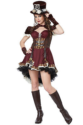 Brand New Wild West Victorian Steampunk Girl Burlesque Adult Costume - Girls Steampunk Costume