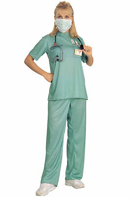 Hospital ER Doctor Nurse Female Adult Halloween Womens Costume Scrubs One Size