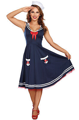 Brand New Retro Pinup Sailor Women All Aboard Plus Size Costume - Sailor Pinup Costume