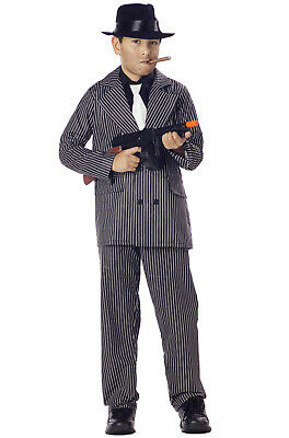 Boys Mafia Gangster Pinstriped Child Zoot Suit Costume - Boys Gangster Suit