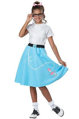 Pink Ladies Kids Costume (50's Pink Ladies Grease Blue Poodle Skirt Child)