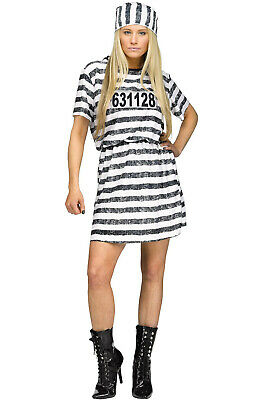 Brand New Prisoner Jail Lady Convict Adult Halloween Costume - Jail Halloween Costume