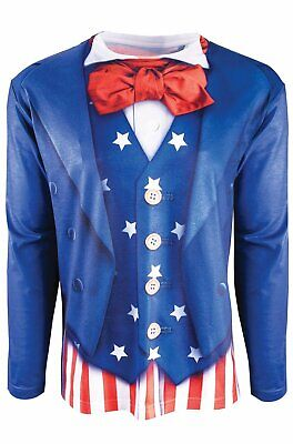 Instantly Patriotic Printed Shirt Uncle Sam USA Fancy Dress Halloween Costume - Uncle Sam Halloween Costumes