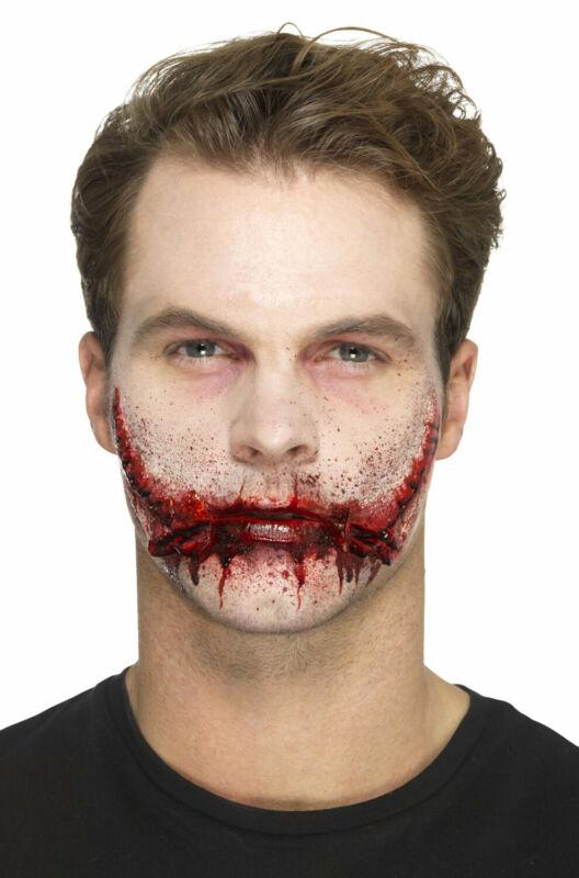 Stitched Smile Man Bloody Killer Joker Prosthetic Make Up Accessory