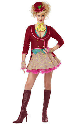 Brand New The Mad Hatter Adult Alice in Wonderland Halloween Costume - Womens Mad Hatter Costumes