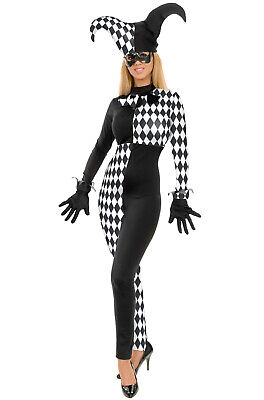 Diamond Jester Clown Harlequin Bodysuit Adult Costume