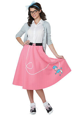 Brand New 50s Pink Poodle Skirt Grease Pink Ladies Adult Costume - 50s Grease