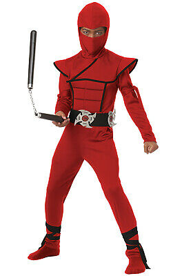 Brand New Japanese Stealth Ninja Child Halloween Costume (Red/Black)