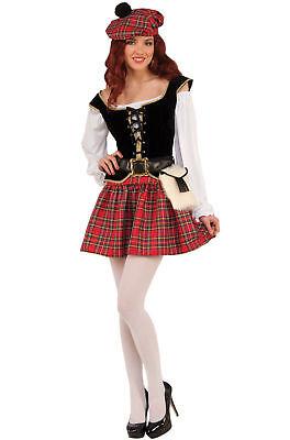 Brandneu Frech Scotty Schottland Kariert Kilts Damen Erwachsene Kostüm Halloween