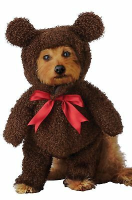 Teddy Bear Pet Dog Costume Brown Stuffed Animal Faux Fur Halloween XS-LG