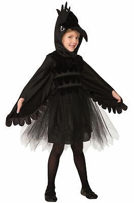Raven Bird Child Halloween Costume Dress Kids Black Crow Animal Tulle SM-LG