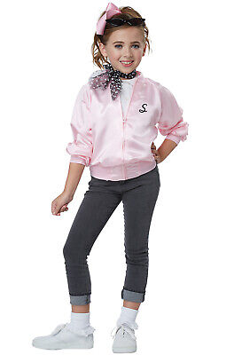 Children's 50s Costumes (Brand New 50's Pink Ladies Grease Satin Varsity Jacket Child)