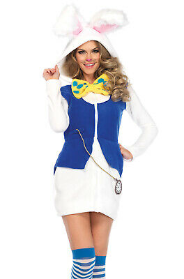 Cozy White Rabbit Alice in Wonderland Dress Adult Costume