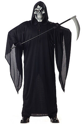 Brand New Adult Men Grim Reaper Scary Skeleton Halloween Costume](Make Grim Reaper Halloween Costume)