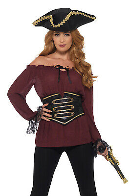 Deluxe Pirate Shirt Women's Adult Costume (Burgundy) - Women Pirate Costumes