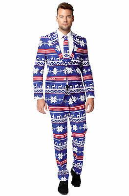 Blue Santa Suit (Brand New Christmas Santa The Rudolph Suit Men Adult)