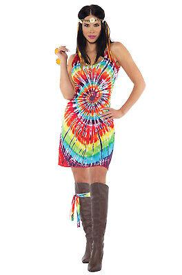 Brand New Tie Dye Mini Dress Hippie Adult (Tie Dye Hippie Kostüm)