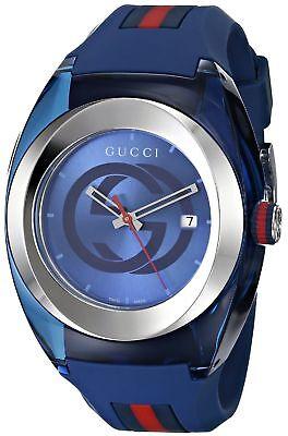 New GUCCI SYNC XXL YA137104 Blue Rubber Band Blue Dial Unisex Watch
