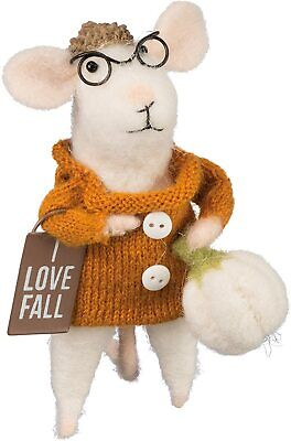 I Love Fall Primitives By Kathy Wool Felt Mouse With Pumpkin Harvest Decor