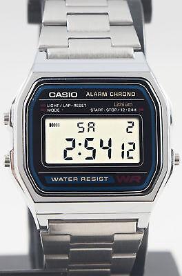 Reloj Nuevo Casio A-158WA-1AV Unisex Retro 100% Original Alarma Acero