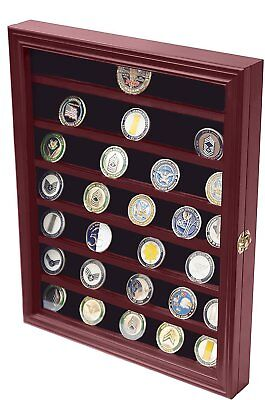 Military Coin Display - Military Challenge Coin Display Case Cabinet Rack Holder With Door