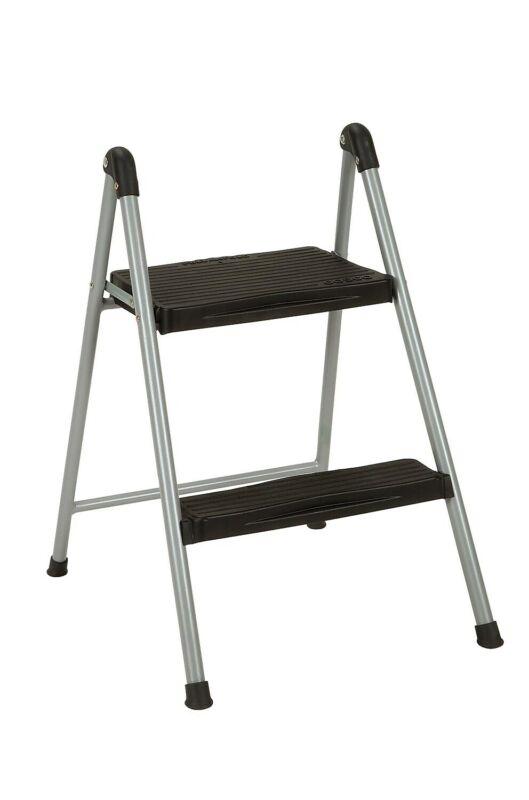 "COSCO 23.75"" Two Step Steel/Resin Folding Step Stool Platinum/Black 1522079"