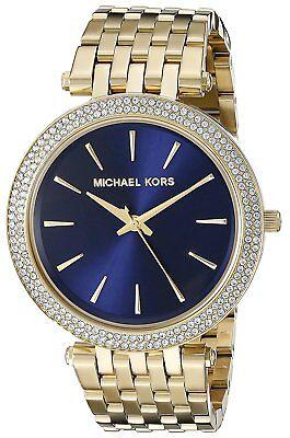 MICHAEL KORS DARCI WOMENS WATCH MK3406 DARK BLUE DIAL GOLD STRAP RRP £279.00