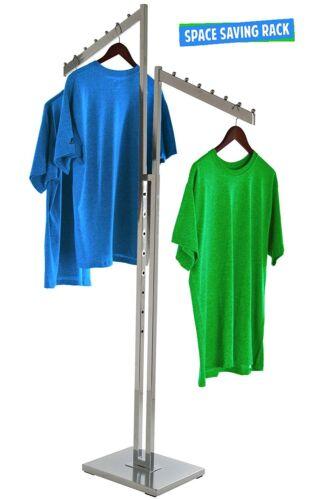 2-Way Clothing Rack Slant Arms - Adjustable Made Of Chrome Rectangular Tubing