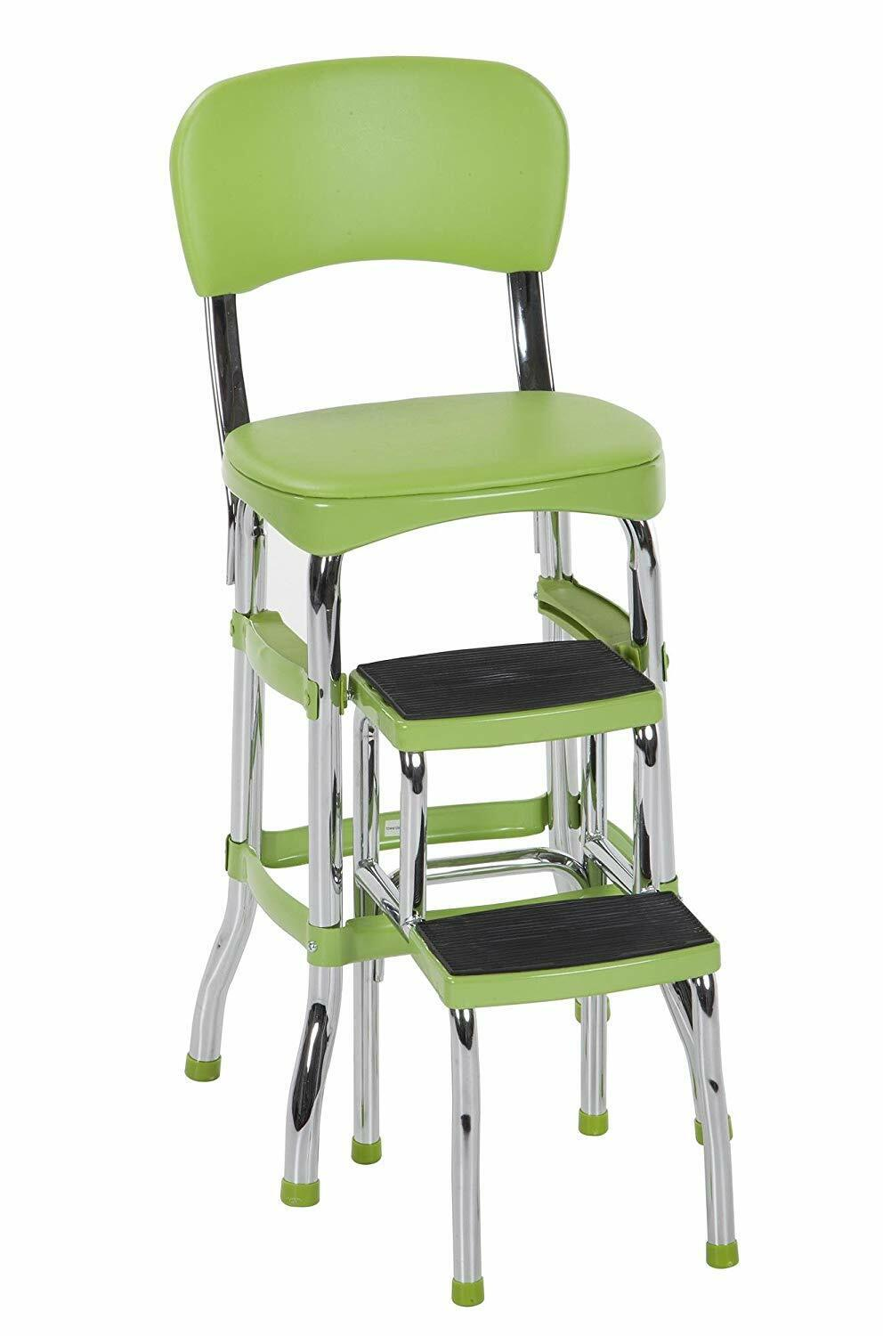 green folding step stool kitchen office home
