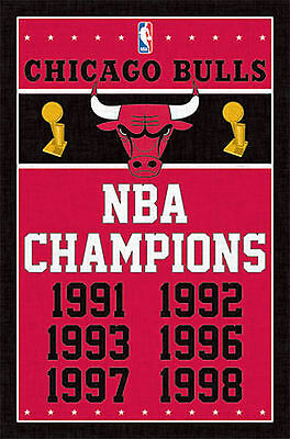 CHICAGO BULLS - NBA CHAMPIONS POSTER - 22x34 SHRINK WRAPPED