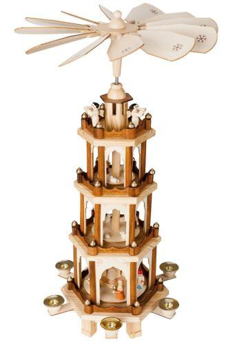 "BRUBAKER Christmas Pyramid 24"" Wood Nativity Play, 4 Tier Carousel"