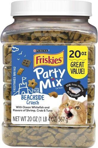 Friskies Party Mix Adult Cat Treats Beachside Crunch Whitefish-Shrimp-Crab-Tuna
