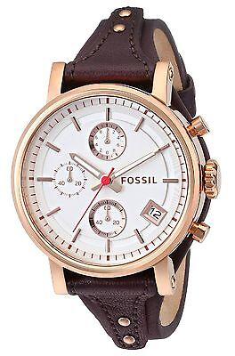 Fossil Women's ES3616 Original Boyfriend Chronograph Brown Leather Watch