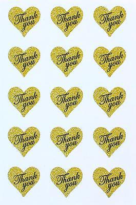 Gold Thank You Glitter Stickers 1.5 X 1.75 Heart Shaped Labels Seal Envelopes