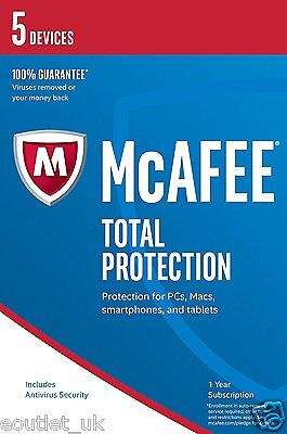 Mcafee 2017 Total Protection 1 Year 5 Multi Device Anti Virus Internet Security