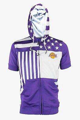 Zipway NBA Men's Los Angeles Lakers Full Zip Flag Short Sleeve Hoodie ()