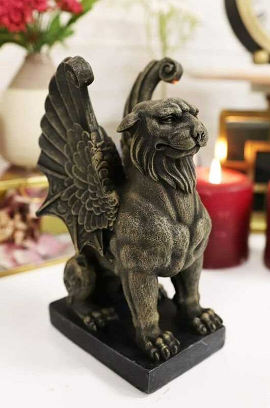 """Ebros Lion Gargoyle with Griffin Wings Crouching On Pedestal Statue 6.5"""" Tall"""