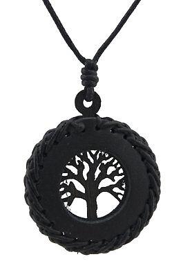 Halskette Baum Leben Celtic Leder Schwarz-Holz Schmuckstück Ethnisch Billig BB