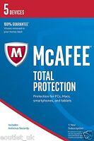 Mcafee Total Protezione 2017 5 Utilizzatori/pc Sicurezza Internet Windows 10 & - total - ebay.it