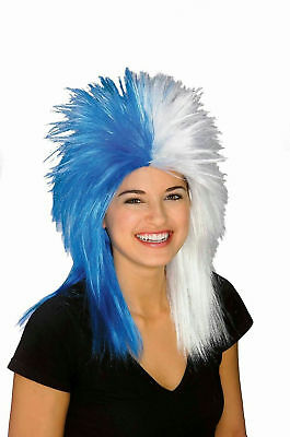 Blue and White Sports Fan Fanatic Wig ROCKER PUNK HALLOWEEN  - Halloween Sports Fan