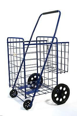 Shopping Cart With Basket Grocery Folding Cart 39.8 X 24.4 X 22.4 Inch Blue
