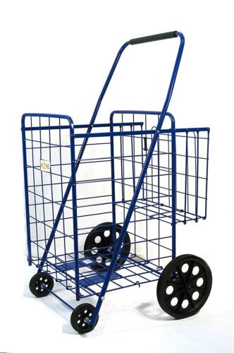 """Shopping Cart with Basket Grocery Folding Cart, Size:39.8"""" x 24.4"""" x 22.4"""",Blue)"""