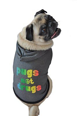 Ruff Ruff and Meow Dog Hoodie Pugs Not Drugs Black Extra-Small XS