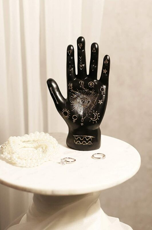 Psychic Fortune Teller Palmistry Black Hand Palm Figurine With Lines and Symbols