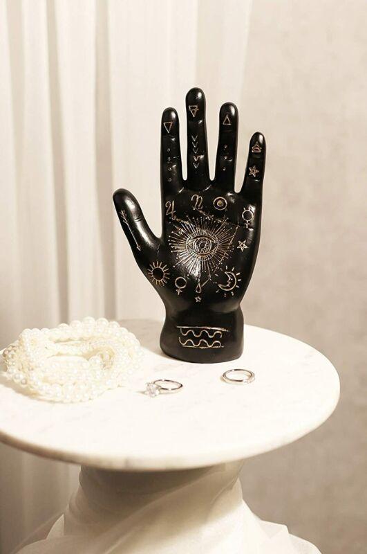 Ebros Psychic Fortune Teller Chirology Palmistry Hand Palm Figurine (Black)