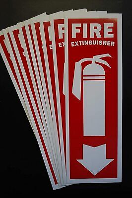 10 Pack Fire Extinguisher Vinyl Sticker Decal 12 X 4 Self Adhesive X10ps46