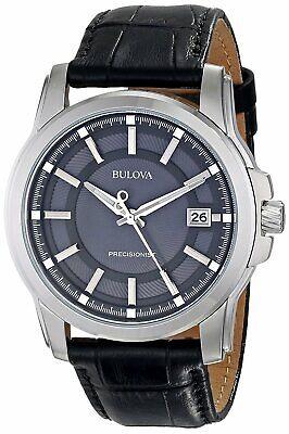 Bulova Precisionist Men's Date Calendar Grey Dial Leather Band 42mm Watch 96B158