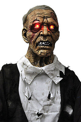 Walking Dead Life Size STANDING ZOMBIE GHOUL Halloween Horror Prop-Light up Eyes (Life Size Horror Props)